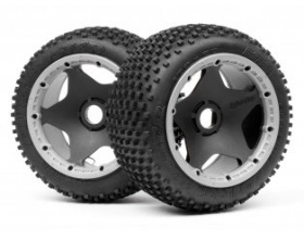 DIRT BUSTER BLOCK TIRE HD COMPOUND ON BLACK WHEEL-HPI 4789